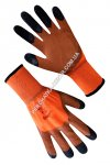Synthetic orange gloves with brown-black foam latex coating 3/4 69626