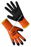 Gloves warm synthetic orange with black nitrile incomplete coating