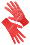 Synthetic red gloves with PVC dots 69060