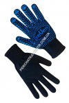 Gloves knitted black double with PVC point 78311-2