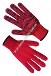 Gloves knitted red with PVC a point 74040