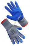 Cotton gray gloves with blue incomplete foamed latex coating