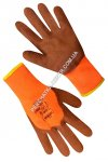Insulated orange gloves with brown foamed latex coating 3/4 69343