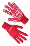 Women's knitted gloves red with PVC dot 7105