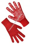 Knitted red/white gloves with PVC dots