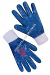 Knitted gloves with blue nitrile coating, elastic cuffs