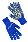 Knitted blue gloves with PVC dots
