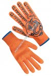 Knitted orange gloves with PVC dots