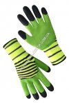 Synthetic gloves with double foamed green-black coating