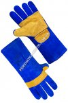 Gaiters mittens long blue with lining, yellow handheld