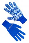 Gloves knitted female blue with PVC a point 7107
