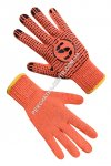 Orange knitted gloves with PVC dot 74210