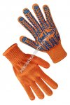 Knitted orange gloves with PVC dots 75612