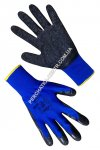 1111 Synthetic blue gloves with black incomplete latex coating