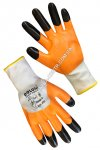 Knitted orange gloves with nitrile coating 4564