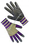 Synthetic violet gloves light green strip with black nitrile coating