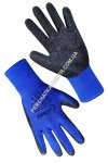 Synthetic blue gloves with black incomplete latex coating