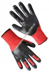 Synthetic red gloves with black rubber coating