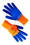 Gloves the warmed synthetic orange with a blue foamed latex covering 69346 3/4