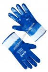 Knitted gloves with blue nitrile coating, hard cuffs