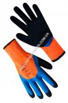 Gloves the warmed synthetic orange with a double latex blue-black 3/4 covering 69863