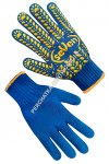 Knitted blue gloves with PVC dot 75614